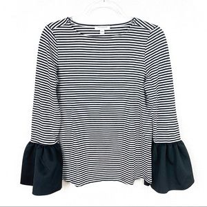 Beach Lunch Lounge Stripe Bell Sleeve Shirt Top